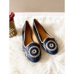 Jack Rogers Navy Gold Waverly Flat Loafers